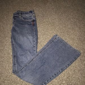 Silver medium wash jeans with flare xtra long